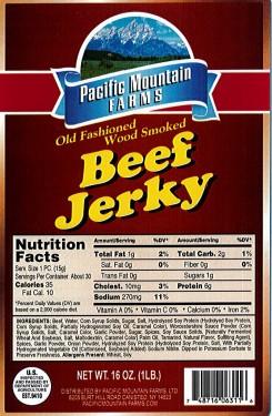 BJKS-16-Mild Beef Jerky Strips Nutritional Information